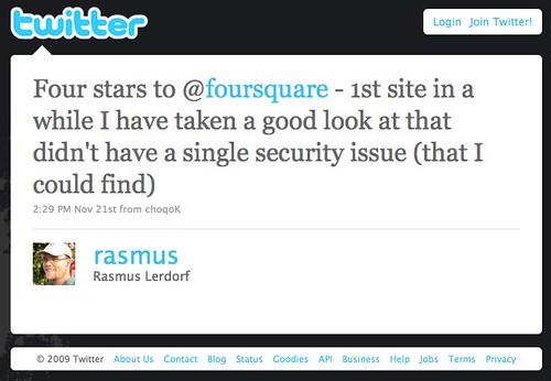 Twitter / Rasmus Lerdorf: Four stars to @foursquare ...