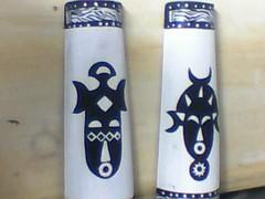 Mascaras africanas (A cor do acaso) Tags: artesanato lindo gato coruja mascara decora decorao acrilico telha africanas