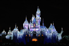 Holiday Castle (StartedByAMouse) Tags: christmas holiday snow castle ice night lights disneyland decoration disney sleepingbeauty interestingness205 i500 sbam