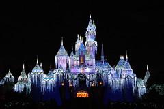 Holiday Castle (StartedByAMouse) Tags: christmas holiday snow castle ice night lights disneyland decoration disney sleepingbeauty interestingness205 i500 sbam