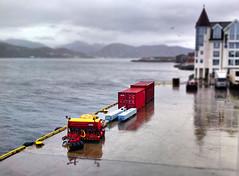 Rainy little dockside (larigan.) Tags: rain miniature dock containers lesund hms aalesund tiltshift tiltshift12 fakeeffect larigan phamilton skansekaia happyminiaturesunday noideawhatthatmachineis