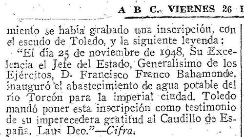 Texto de la placa conmemorativa de la traída de aguas del Torcón. Diario ABC 26-11-1948