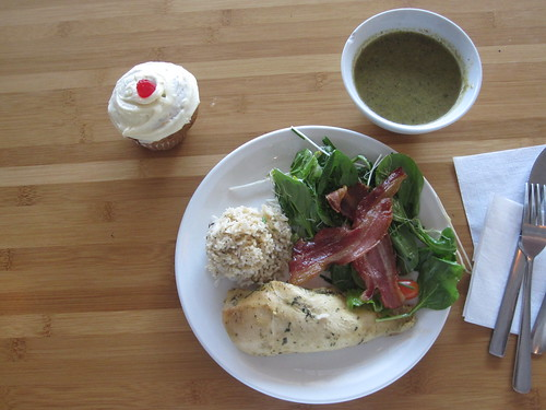Vegetable soup, herbed chicken, rice, salade with random bacon, cupcake - $6