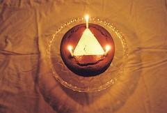 (Dream Beam) Tags: birthday light film cake triangle candles chocolate glowing 18 finally november15 veganbutwerenotvegan