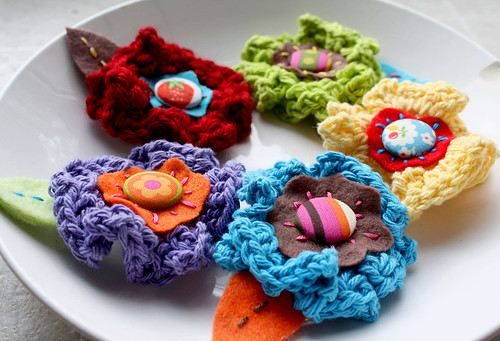 Bright Happy Crocheted Flowers