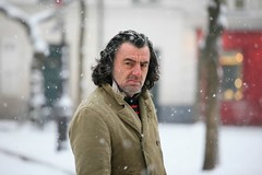 Parisian Portrait Painter (Alex E. Proimos) Tags: winter portrait snow man paris france cold look dark french intense frost coat evil scene odd snowing parisian abigfav concordians proimos alexproimos