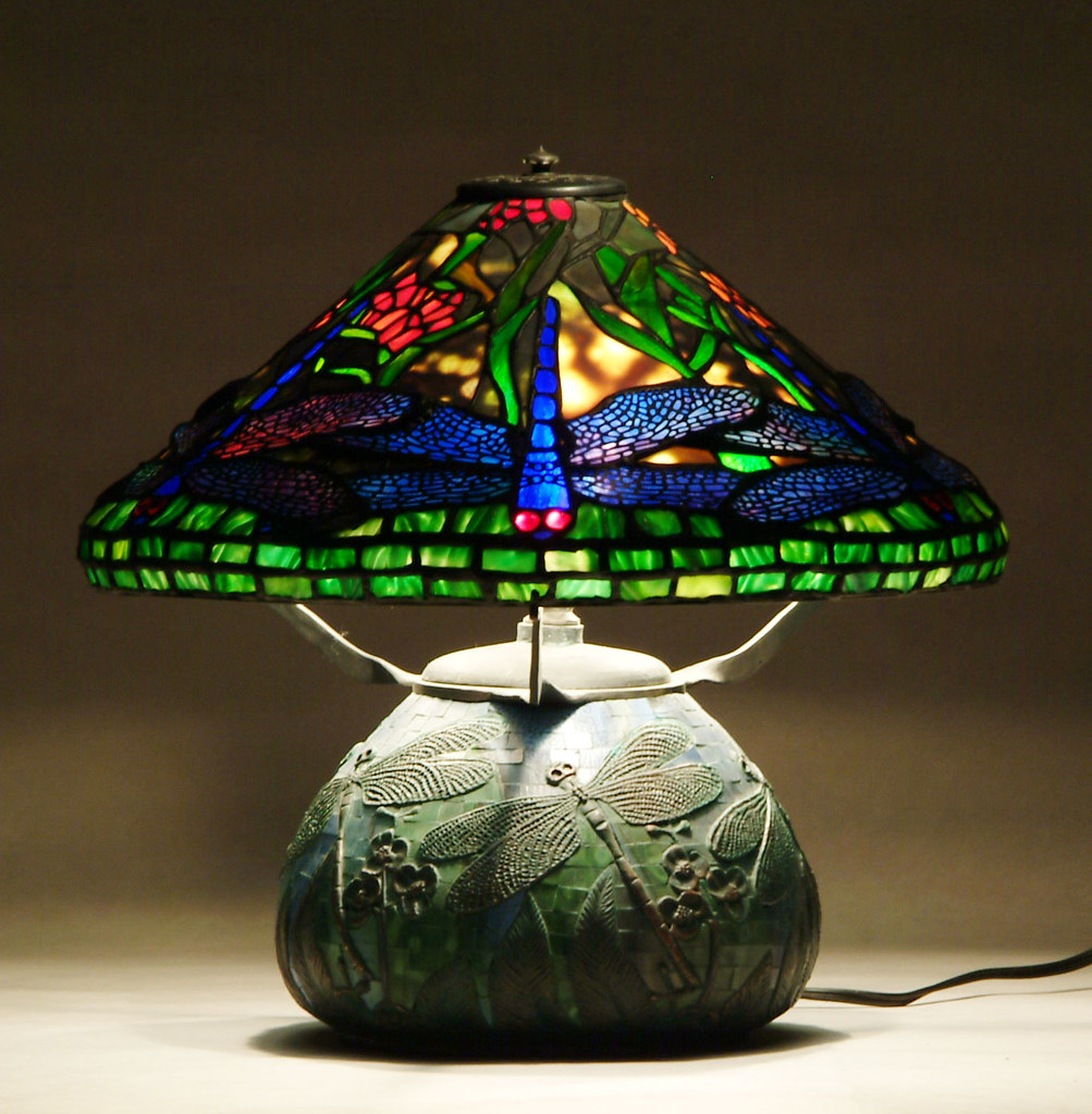 Tiffany Florial Dragonfly Bronze Lamp