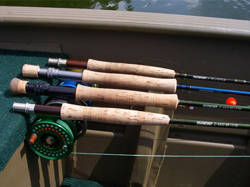 Stillwater fly rods rigged up with the proper line and ready to fish
