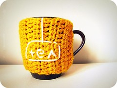 Cup cozy (PaisleyJade) Tags: cup yellow cozy tea crochet mo cover mug mustard stache mustache