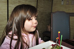 Happy Birthday Ivy! (owen4green) Tags: birthday blue red baby brown white girl cake japan interestingness strawberry candles child daughter ivy blow jacket raspberry littlegirl kanazawa ishikawa blowingoutthecandles threeyearsold blwing chairchairs nikkor2470mmf28g nikond3s happybirthdayivy greenivysbirthdaydinnerout