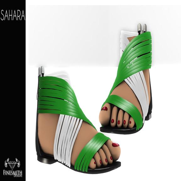 Sahara Sandals Green and White