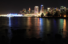 Vancouver Night Lights (Sliver of Light Photography) Tags: city urban water silhouette night vancouver lights geese rocks bc britishcolumbia citylights burrardinlet canadaplace vancouverbc conventioncentre downtownvancouver fivesails vancouveratnight