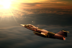 F-104 (96dpi) Tags: sunset museum clouds photoshop plane sonnenuntergang aircraft jet wolken lockheed flugzeug compositing interceptor f104 bundeswehr luftwaffe starfighter centuryseries gatow