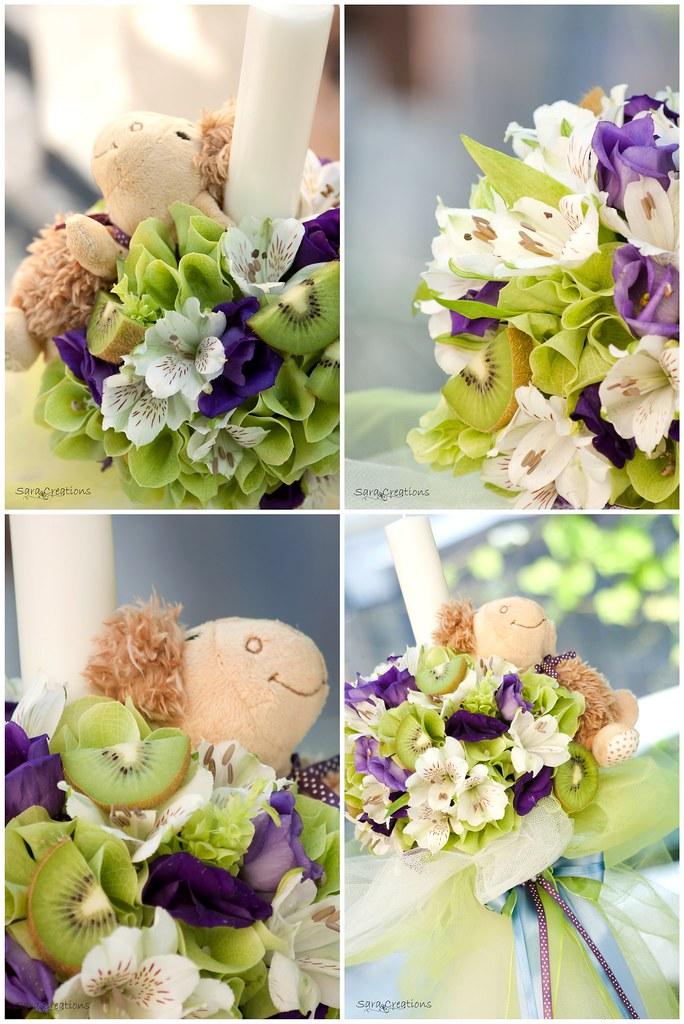 kiwi & flowers - lumanare botez ( christening candle )