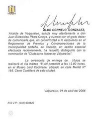 Carta de fecha 1 de abril de 2006 del Señor Alcalde de Valparaíso, D. Aldo Cornejo González ,en la que comunica oficialmente la nominación de Ciudadano Ilustre de Valparaíso.