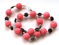 Necklace with pink polymer clay beads