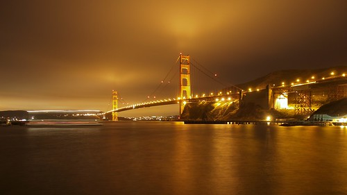 Golden Gate Bridge at Night from Fort Baker