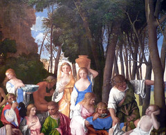 Giovanni Bellini and Titian, The Feast of the Gods detail with forest
