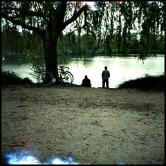 Fishing (xpunklovex) Tags: lens xpro fishing with dijon lac diana 55mm avril provia 2009 kir pêche 400x