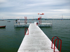 Union Pier - Swimming Dock (Kara Allyson) Tags: lake wisconsin swimming swim boats sailing madison unionterrace unionpier
