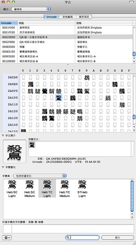 Gontera 拍攝的 poor unicode support of Mac OS X 10.6。