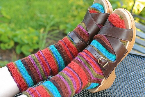 "Ann Budd sock's in Regia 4-ply, ""Landscape Fire"""