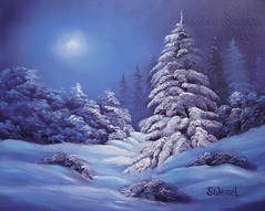 First Snow (Sherry Winkler) Tags: christmas blue winter moon snow cold tree art pine night landscape aqua glow purple fine