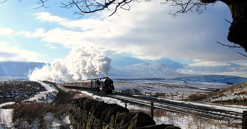 Steam train crossing Ribblehead viaduct