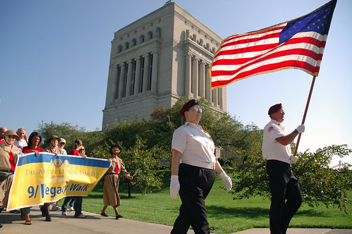 The Salvation Army Donut Girls help lead the way during the 9/11 Legacy Walk in downtown Indianapolis.