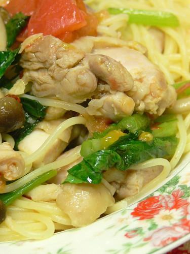 鶏肉とトマトと小松菜とシメジのスパゲティ