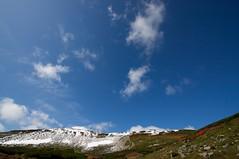 第四雪渓を見上げる