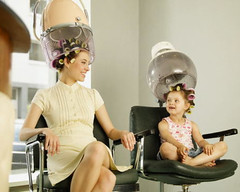 032 - Early Learner (Sydney Michelle) Tags: brown set hair chair dress pair daughter mother hairdo hood 1960s rollers brunette dryer sixties rolled curlers brownette