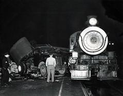 Night Train Noir (Bodie Bailey) Tags: california railroad bw greyhound train blackwhite losangeles noir accident rails trucks familyphotos steamengine transportion greyhoundbuslines frankmcmahan pacificgreyhound