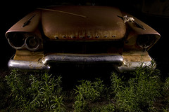 The Iron Giant (Lost America) Tags: lightpainting abandoned night plymouth fullmoon 1958 junkyard nocturnes thebigm