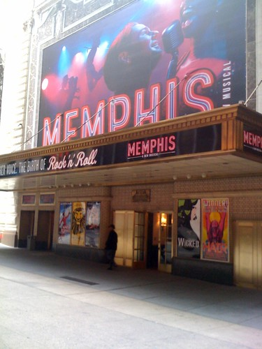 The marquee for Memphis the Musical at the Shubert Theatre