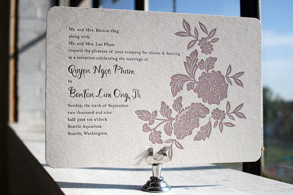 Letterpress Wedding Invitation by Smock