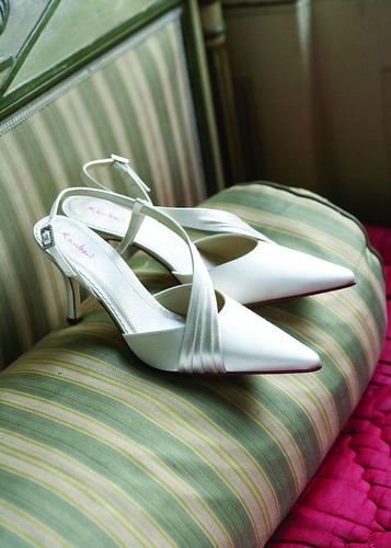 Pleated detail on the wedding shoes.
