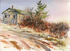 Big Old House on the Hill (Artist Naturalist-Mike Sherman) Tags: november art rural watercolor painting michigan fineart farmland transparent 2009 onlocation indiansummer enpleinair midmichigan mikesherman michaelsherman teesdalesherman