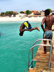 "Going Overboard (or..""Who Put That Spring Under My Chair !!"")   :-) (oldt1mer) Tags: ocean sea holiday beach fun island pier jump dive tropical santamaria sal caboverde capeverde"