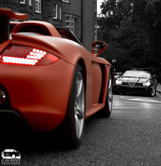 Showdown CGT vs. SLR Roadster (Murphy Photography) Tags: street uk london car speed hp super ps harrods porsche pk gt carrera rar mattred