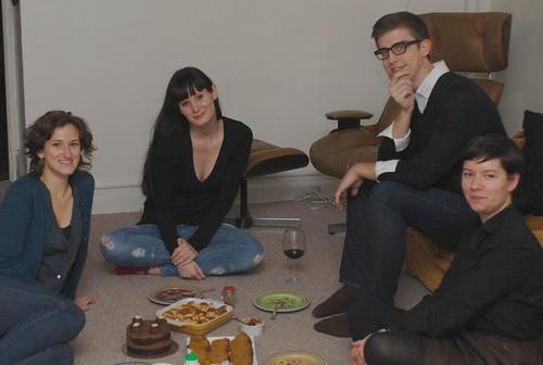 Jessica, Jenne, Matthew, Solana (and dessert spread on the floor)
