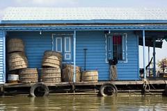 Blue Floating House and Baskets (Boris Hamilton) Tags: cambodge cambodia floatingvillages kampongchhnang