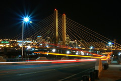 DSC02978 (Rob Green - SmokingPit.com) Tags: city bridge streets green water night speed photography lights town washington thea downtown slow time sony structures bridges down center rob dome shutter wa tacoma alpha streaks foss span waterway a100 roadquestcom