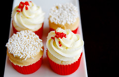 In a festive mood (Cik Kiah) Tags: christmas xmas red white cake festive nikon chocolate ganache cupcake butter peanut tamron f28 frosting d40