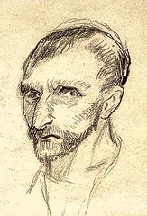 Van Gogh, Self-Portrait  Pencil 19.0 x 21.0 cm. Paris- January-June, 1887 F 1379, JH 1196  Amsterdam- Van Gogh Museum (renzodionigi) Tags: portrait painting design engraving autoritratto ritratto arts fine selfportrait