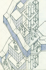 Working Axon through a Tower (ryanprb) Tags: architecture drawing thesis hollywood psychogeography labyrinth