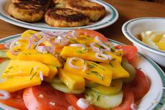 Indian Food (sillie_R) Tags: food india fish cake dinner tomato salad cucumber goa mango onion