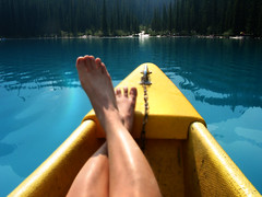 Moraine Lake - Banff, Alberta (Kim Yokota) Tags: relaxing banffnationalpark morainelake glaciallake yellowcanoe banffalbertacanada turquoisebluelake