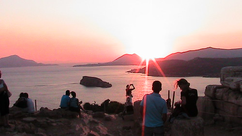 sunset in cape sounion