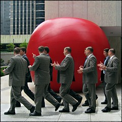 Taking care of busy-ness (Now and Here) Tags: red sculpture mars toronto ontario canada motion men festival canon ball square big movement fb walk arts large talk powershot business suit explore sidewalk installation duplicates clones redball huge bmo kingstreet frontpage 1x1 ignore businessmen fcp synchronized mostviewed firstcanadianplace redplanet view500 explore16 fave10 a570 a570is luminato fave50 kurtperschke fave25 nowandhere fave100